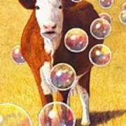 Cow Bubbles Poster