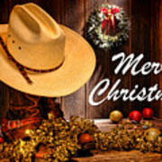 Cowboy Christmas Party - Merry Christmas Poster