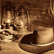 Cowboy Hat And Kerosene Lanterns Poster