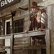 Cowboy Waiting Outside Of A Bank Building Poster