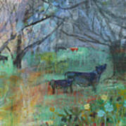 Cows In The Olive Grove Poster