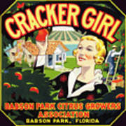 Cracker Girl Citrus Crate Label C. 1920 Poster
