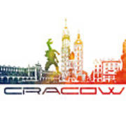 Cracow City Skyline Color Poster