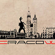 Cracow Skyline Black Poster