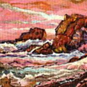 Crashing Waves At Sunset  Majestic Seascape Poster