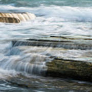 Crashing Waves On Sea Rocks Poster