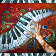 Crazy Fingers- Piano Keyboard - Bordered Poster