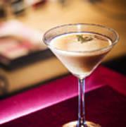 Creme Caramel Martini Cocktail In Bar Poster