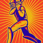 Cricket Sports Batsman Batting Poster by Aloysius Patrimonio
