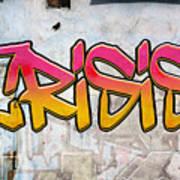 Crisis As Graffiti On A Wall  Poster