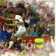 Cristiano Ronaldo Heads The Ball During The Spanish League Footb Poster