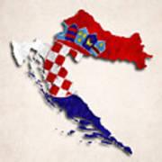 Croatia Map Art With Flag Design Poster