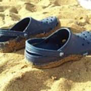 Crocs Shoes On Sandy Point Beach Poster