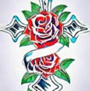 Cross And Roses Tattoo Poster