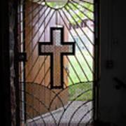 Cross On Church Door Open To Prison Yard Poster