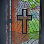 Cross On Church Door Open To Prison Yard With Light Poster