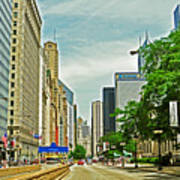 Crossing Chicago's South Michigan Avenue Poster