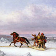 Crossing The Saint Lawrence From Levis To Quebec On A Sleigh Poster by Cornelius Krieghoff