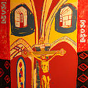 Crucifixion at Vic with colors Poster