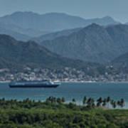 Cruise Ship Leaving Banderas Bay Puerto Vallarta Mexico With Sie Poster