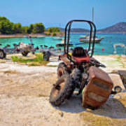 Crushed Tractor By The Sea On Island Prvic Poster