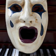 Crying Mask On Piano Keys Poster