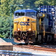 Csx Train Rounding The Bend Poster