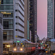 Cta Train On The L At Dusk Chicago Illinois Poster