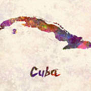 Cuba In Watercolor Poster