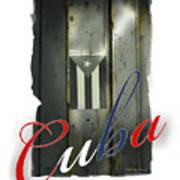 Cuban Flag On Door Poster