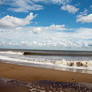 Cumulus Clouds Passing Across The Beach At Skegness Lincolnshire England Poster