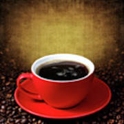 Cup Of Coffee On Grunge Textured Background Poster