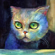 Curious Kitten Watercolor Painting  Poster