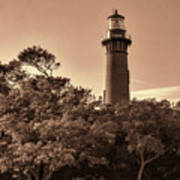 Currituck Beach Lighthouse - Sepia Poster