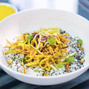 Curry Sauce Vegetable Salad With Noodles And Sesame Poster