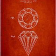 Cut Diamond Patent From 1873 - Red Poster