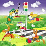 Cute Animals Crossing The Street Poster