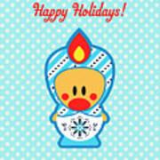 Cute Art - Blue Polka Dot Happy Holidays Folk Art Sweet Angel Bird In A Nesting Doll Costume Wall Art Print Poster