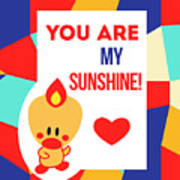 Cute Art - Sweet Angel Bird Multicolor Colorblock You Are My Sunshine Wall Art Print Poster