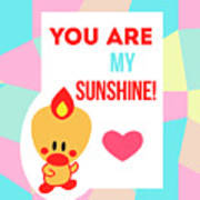 Cute Art - Sweet Angel Bird Pastel Colorblock You Are My Sunshine Wall Art Print Poster