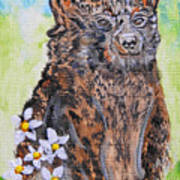 Cute Baby Black Bear Art Poster