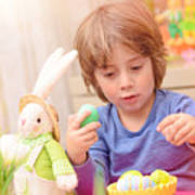 Cute Boy Enjoy Easter Holiday Poster
