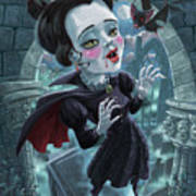 Cute Gothic Horror Vampire Woman Poster