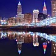 Cuyahoga Reflecting The City Above Poster