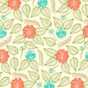 Cyan And Orange Floral Pattern Poster