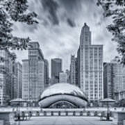 Cyanotype Anish Kapoor Cloud Gate The Bean At Millenium Park - Chicago Illinois Poster