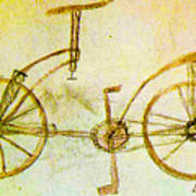 Da Vinci Inventions First Bicycle Sketch By Da Vinci Poster