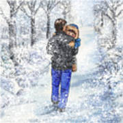 Dad And Child In The Winter Snow Poster
