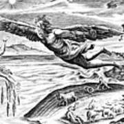 Daedalus Escaping From Crete With His Son, Icarus, Sees Him Falling To His Death Poster