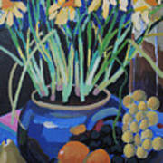 Daffodills And Fruit Poster